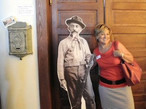 JCF's Brenda Landau took a moment during the August 19, 2015  celebration of the reopening of the Jewish History Museum to pose with Tucson's first Jewish mayor, Charles Moses Strauss, who served from 1883 to 1884.