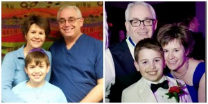 Tedd, Melissa and Sam Goldfinger at the signing ceremony for their DAF and two years later at Sam's Bar Mitzvah.