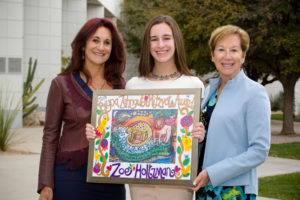 Karen Katz (left) and Jane Ash (right) with 11th Annual Bryna Zehngut Mitzvot Award recipient Zoe Holtman. Photo by Martha Lochert.