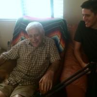 Holocaust survivor Mikhail Rabinovich and volunteer visitor Adam Starbuck