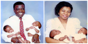 Moses and Joyce Akpan with twins Andikan and Imoette
