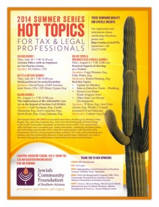 2014 Summer Series: Hot Topics for Tax and Legal Professionals flyer
